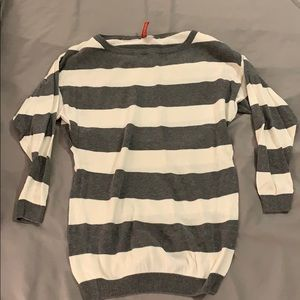 Grey and White Striped ¾ sleeve Sweater size 2